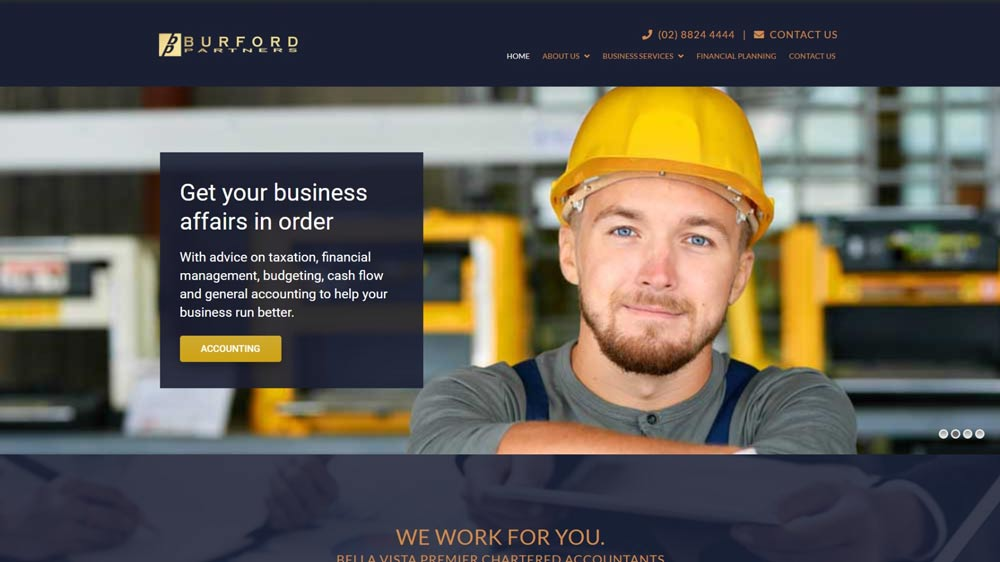 "Featured image for ""Burfords Partners"" website designed by Big Red Bus Websites"