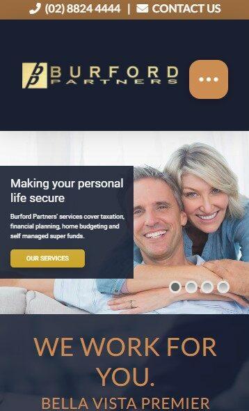 Burfords Partners website designed by Big Red Bus Websites - mobile view