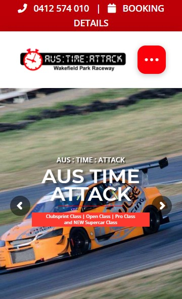 Aus Time Attack website designed by Big Red Bus Websites - mobile view