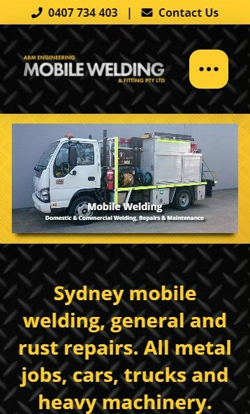 ABM Engineering Mobile Welding & Fitting website designed by Big Red Bus Websites - mobile view