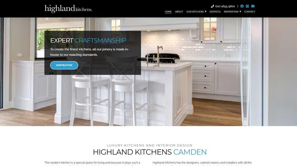 """""""Highland Kitchens"""" website designed by Big Red Bus Websites - South West Sydney"""