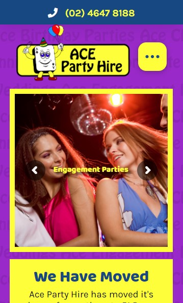 Ace Party Hire website designed by Big Red Bus Websites - mobile view