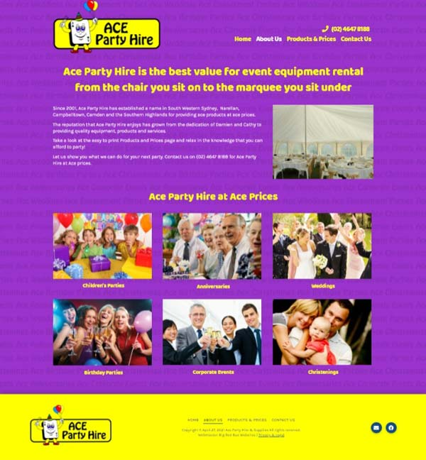 Ace Party Hire website designed by Big Red Bus Websites - example 2