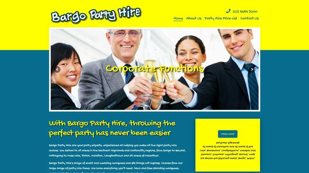 Bargo Party Hire website designed by Big Red Bus Websites - desktop view