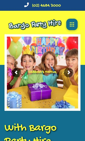 Bargo Party Hire website designed by Big Red Bus Websites - mobile view