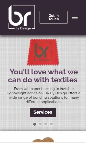 BR By Design website designed by Big Red Bus Websites - mobile view