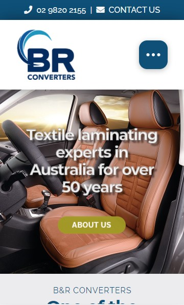 B&R Converters website designed by Big Red Bus Websites - mobile view