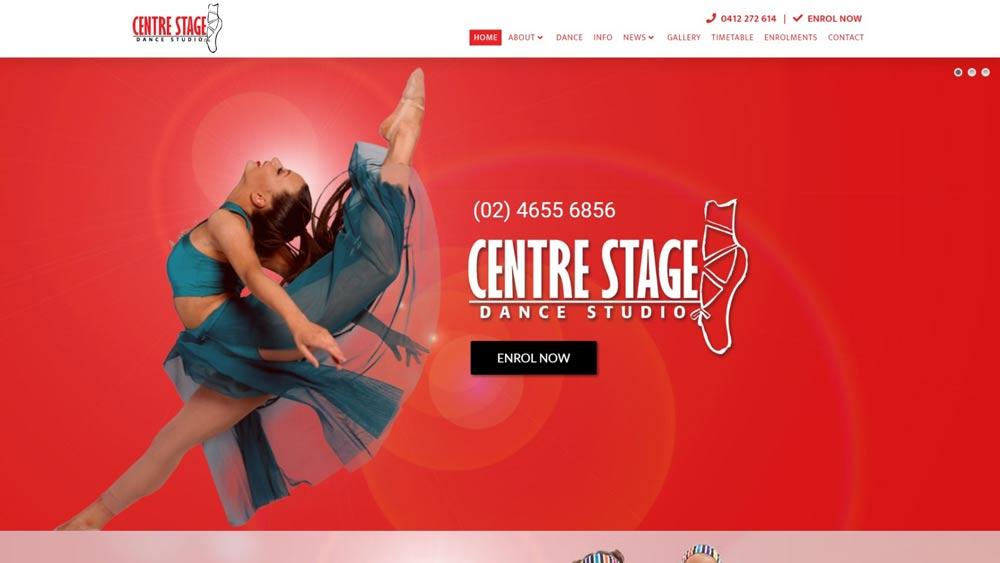 """""""Centre Stage Dance Studio"""" website designed by Big Red Bus Websites - South West Sydney"""