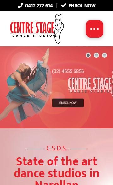 Centre Stage Dance Studio website designed by Big Red Bus Websites - mobile view