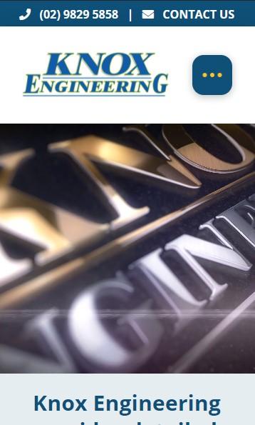 Knox Engineering website designed by Big Red Bus Websites - mobile view
