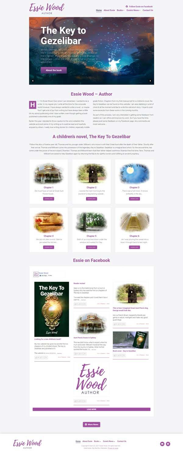 Essie Wood – Author website designed by Big Red Bus Websites - ezample 1