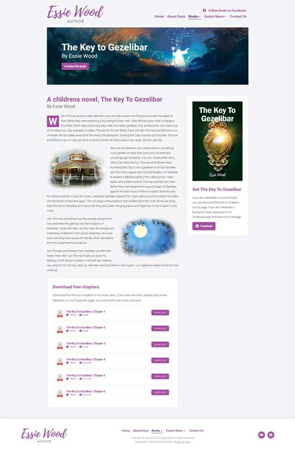 Essie Wood – Author website designed by Big Red Bus Websites - example 2