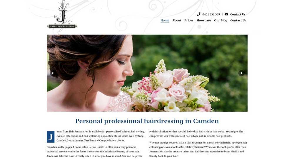 Hair Jennaration website designed by Big Red Bus Websites - desktop view