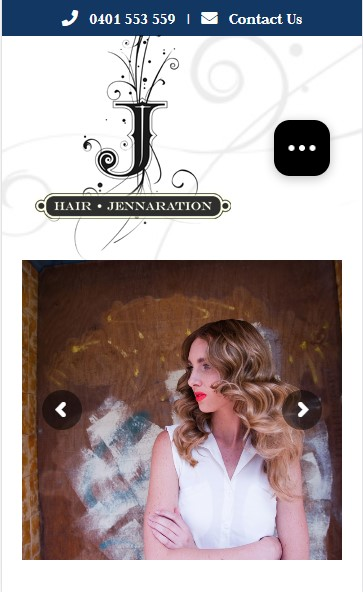 Hair Jennaration website designed by Big Red Bus Websites - mobile view