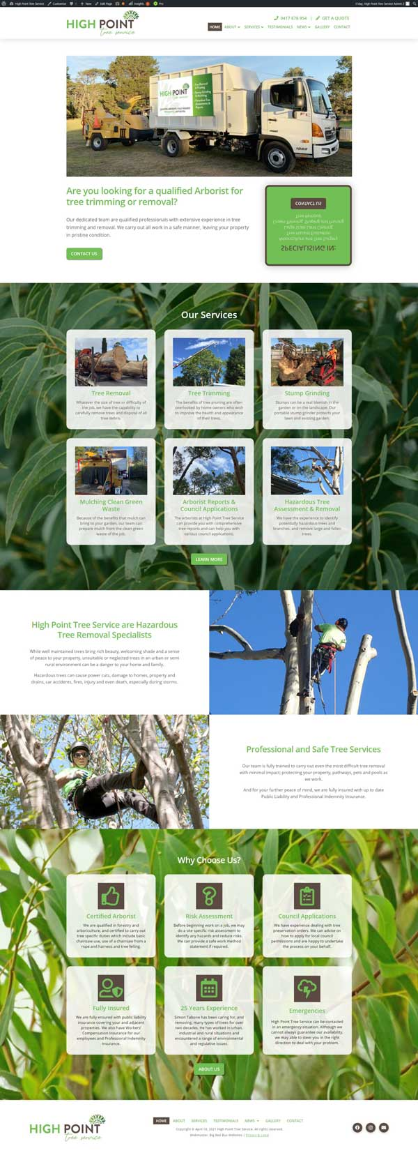 High Point Tree Service website designed by Big Red Bus Websites - ezample 1