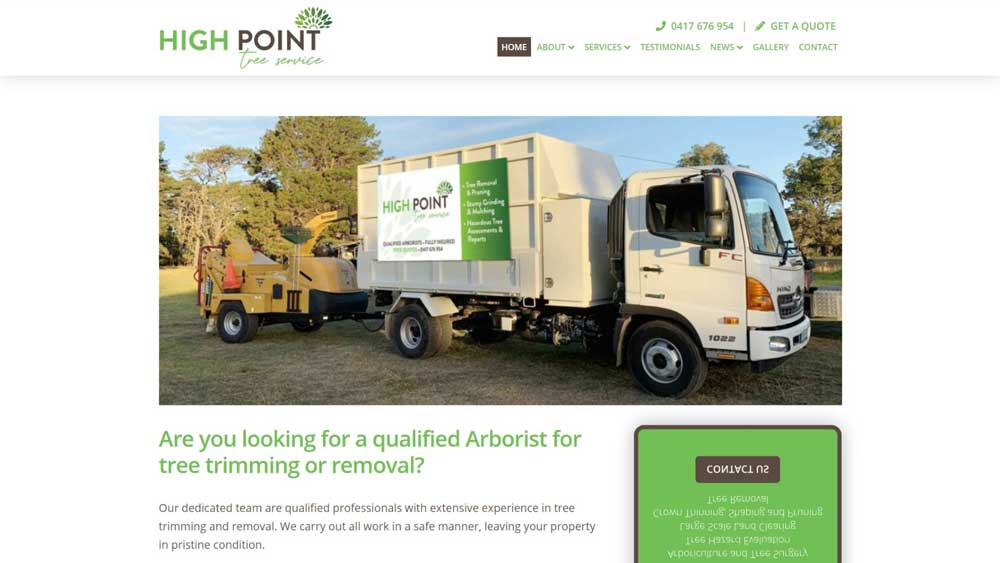 High Point Tree Service website designed by Big Red Bus Websites - desktop view