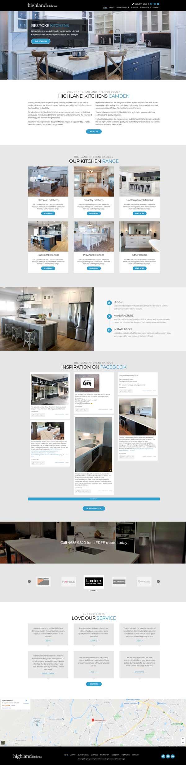 Highland Kitchens website designed by Big Red Bus Websites - ezample 1