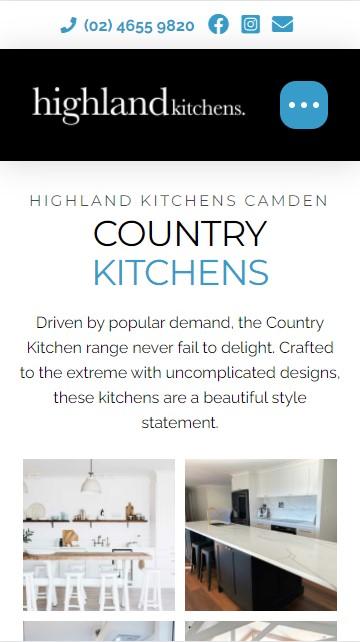 Highland Kitchens website designed by Big Red Bus Websites - mobile view