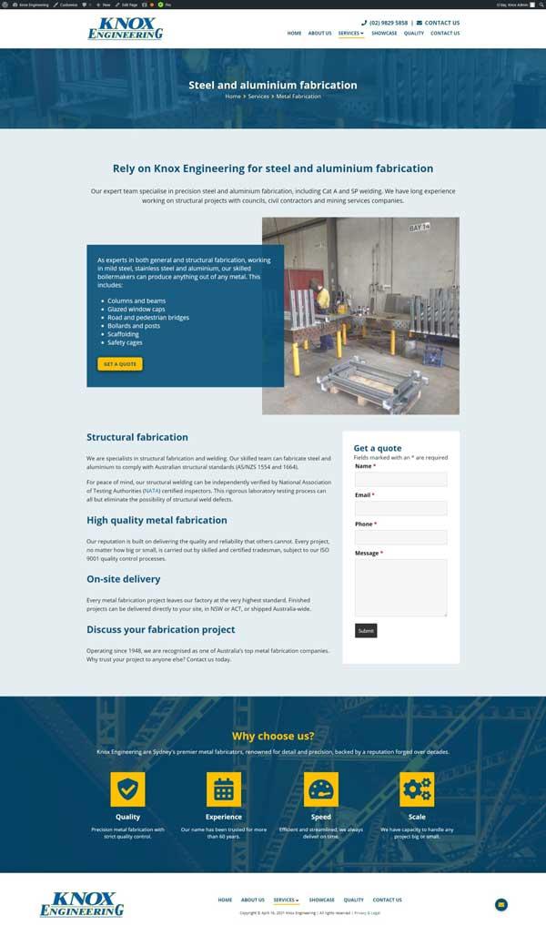 Knox Engineering website designed by Big Red Bus Websites - example 2