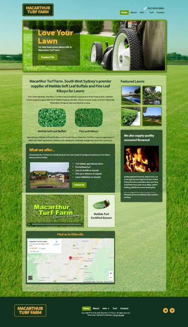 Macarthur Turf Farm website designed by Big Red Bus Websites - ezample 1