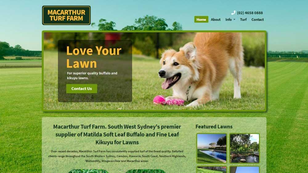 Macarthur Turf Farm website designed by Big Red Bus Websites - desktop view