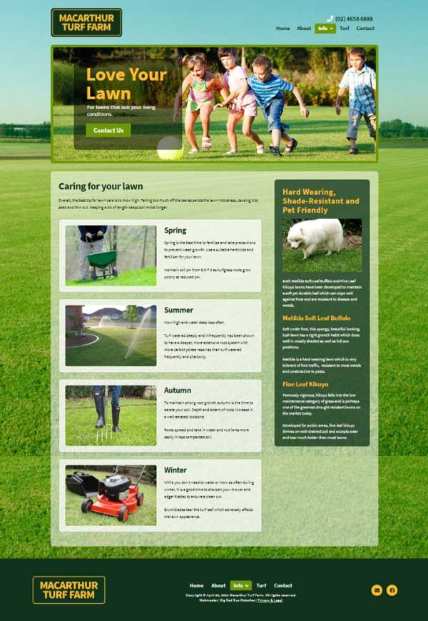 Macarthur Turf Farm website designed by Big Red Bus Websites - example 2