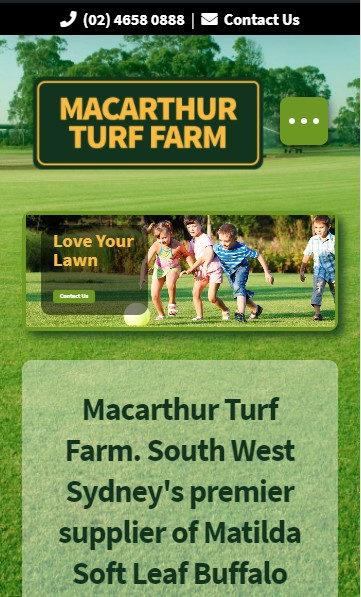 Macarthur Turf Farm website designed by Big Red Bus Websites - mobile view