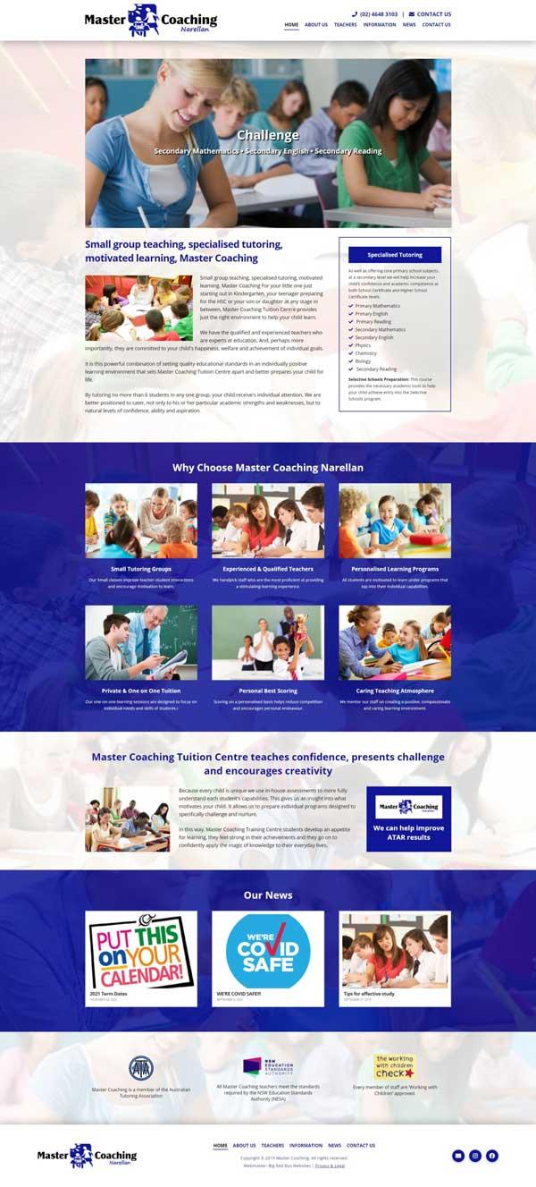 Master Coaching website designed by Big Red Bus Websites - ezample 1