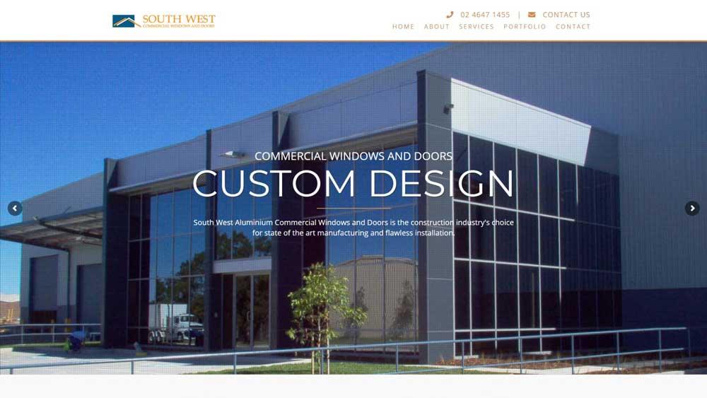 South West Commercial Windows & Doors website designed by Big Red Bus Websites - desktop view