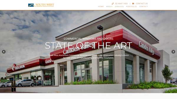 South West Commercial Windows & Doors website designed by Big Red Bus Websites - example 2