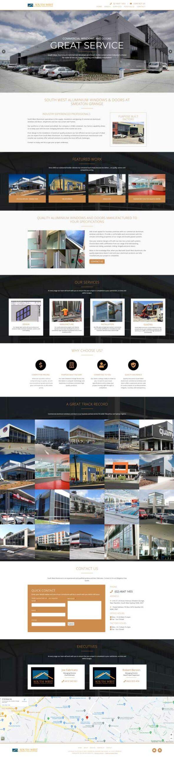 South West Commercial Windows & Doors website designed by Big Red Bus Websites - ezample 1