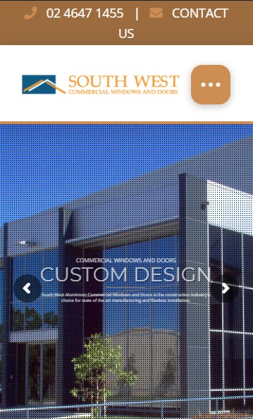 South West Commercial Windows & Doors website designed by Big Red Bus Websites - mobile view