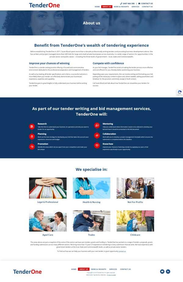 Tender One website designed by Big Red Bus Websites - example 2