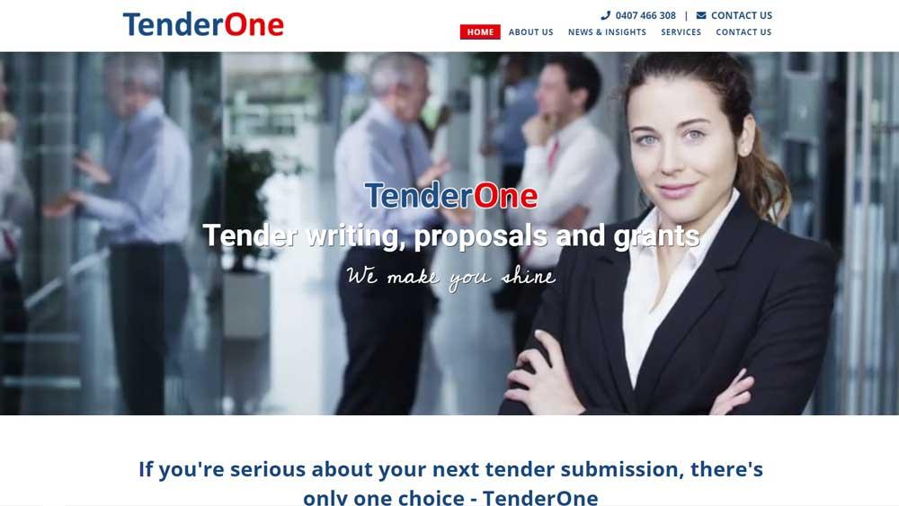 Tender One website designed by Big Red Bus Websites - desktop view