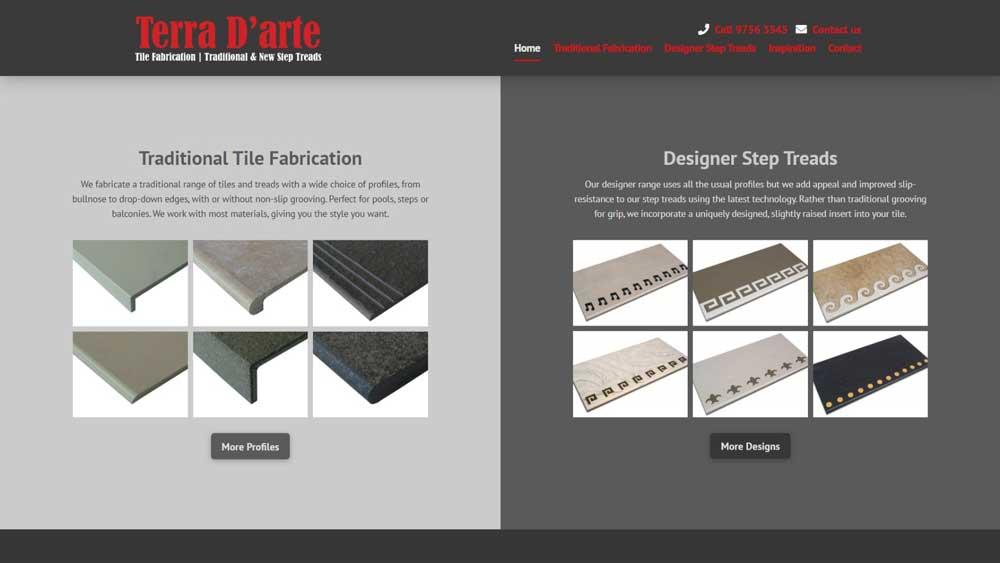 "Featured image for ""Terra D'arte Tile Fabrication"" website designed by Big Red Bus Websites"