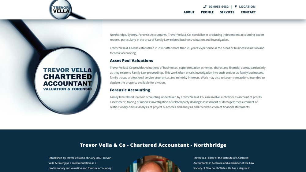 """Featured image for """"Trevor Vella Chartered Accountant"""" website designed by Big Red Bus Websites"""
