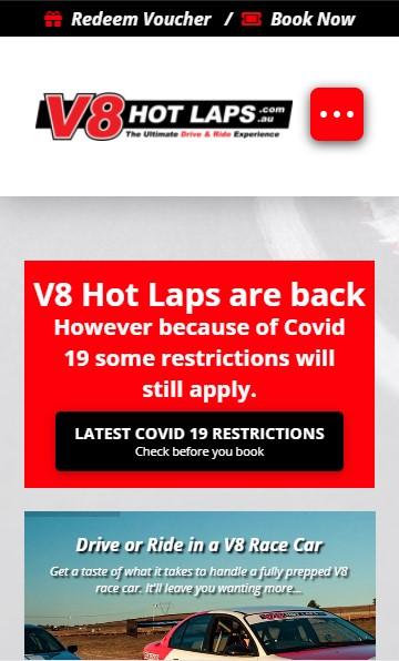 V8 Hot Laps website designed by Big Red Bus Websites - mobile view