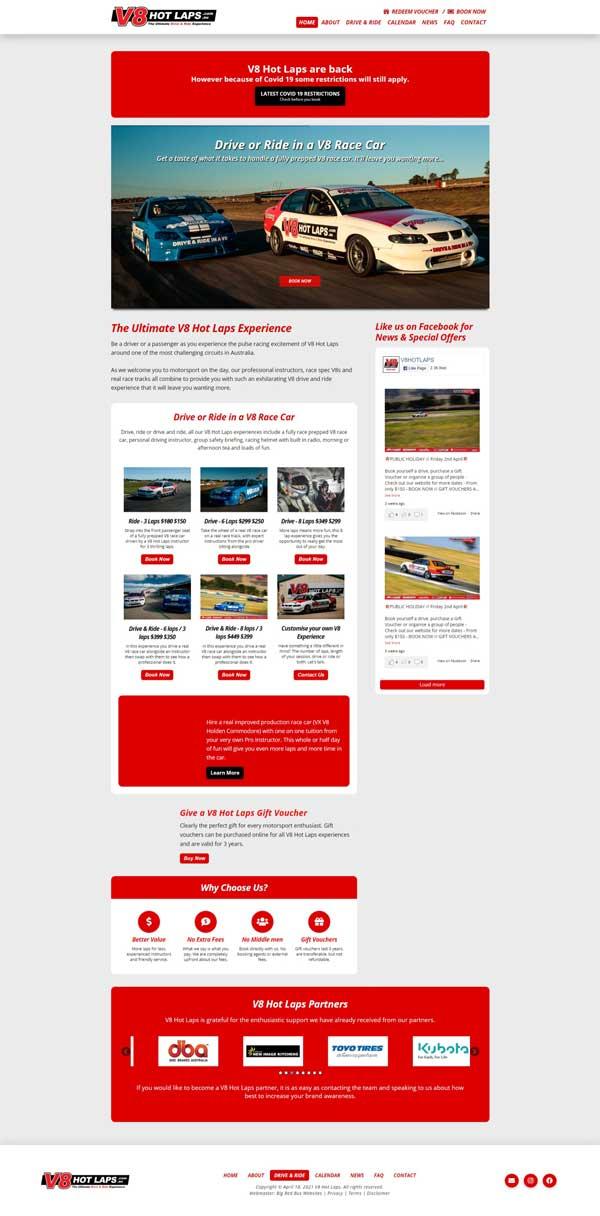 V8 Hot Laps website designed by Big Red Bus Websites - ezample 1