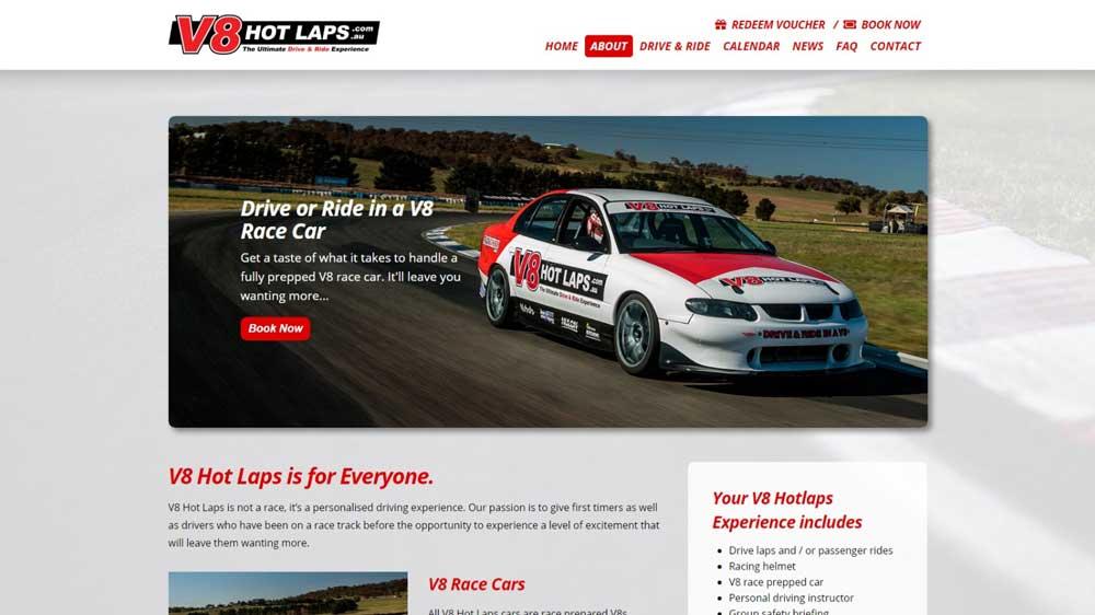 """""""V8 Hot Laps"""" website designed by Big Red Bus Websites - South West Sydney"""