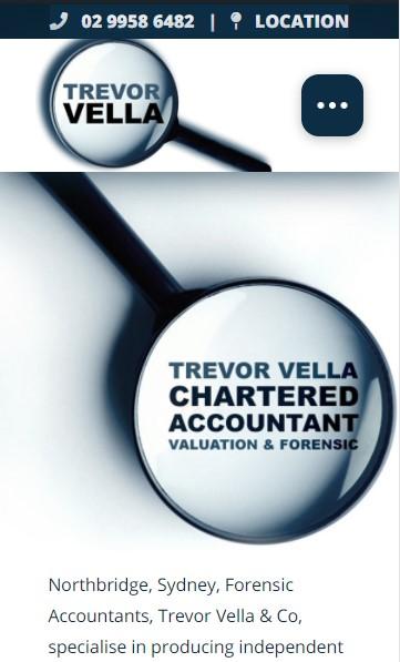 Trevor Vella Chartered Accountant website designed by Big Red Bus Websites - mobile view