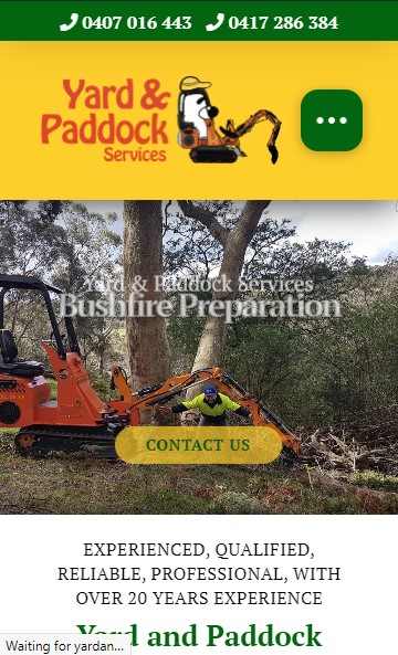 Yard and Paddock Services website designed by Big Red Bus Websites - mobile view