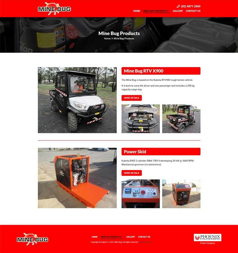 Mine Bug website designed by Big Red Bus Websites - example 2