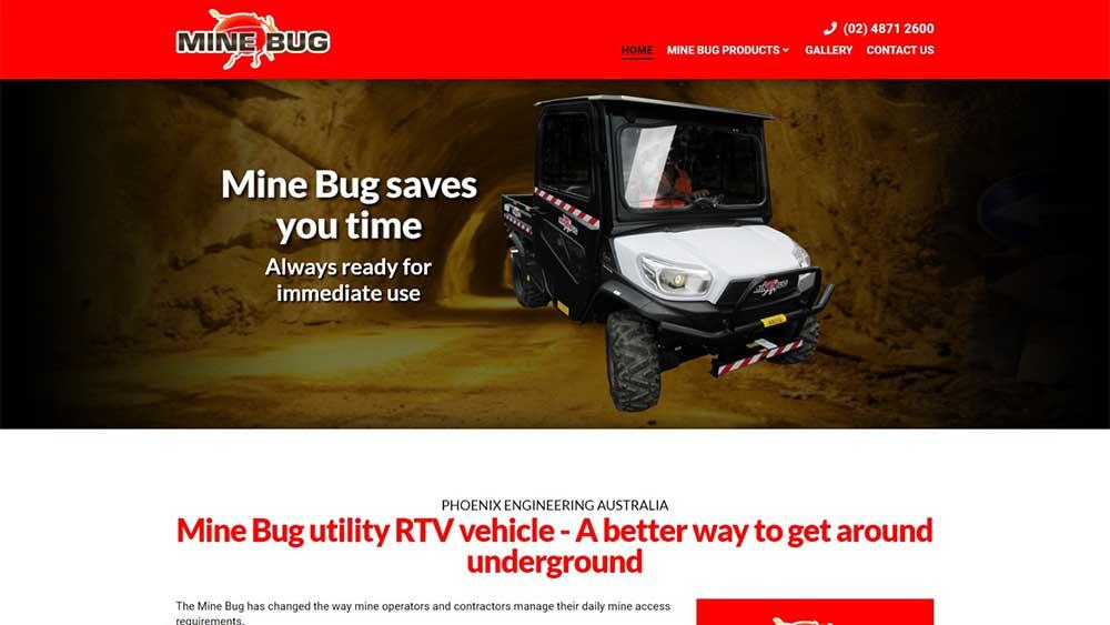 Mine Bug website designed by Big Red Bus Websites - desktop view