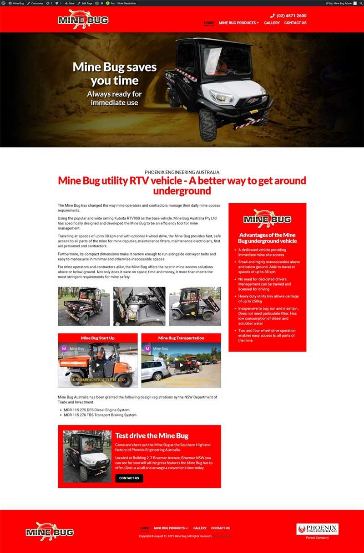 Mine Bug website designed by Big Red Bus Websites - ezample 1