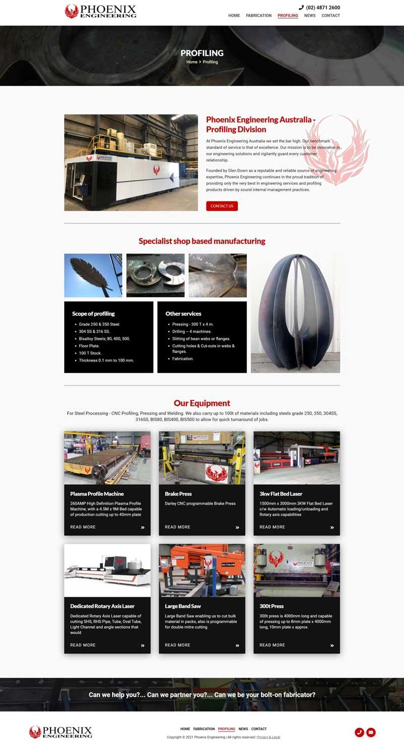 Phoenix Engineering Australia website designed by Big Red Bus Websites - example 2